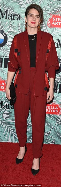 Gaby Hoffman wore a wine pant suit Brie Larson, Wine Pants, Oscar Party, Nice Clothes, Old Actress, Oscars, Mail Online, Daily Mail, Bordeaux