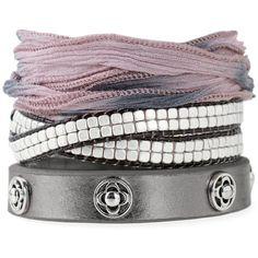 Stella & Dot Clover Double Wrap Leather Bracelet ($59) ❤ liked on Polyvore