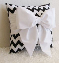 Black and White Chevron Bow AccentThrow Pillow