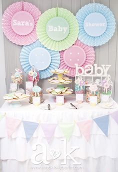 "Sara's Pastel Coloured ""Cute As A Button"" Baby Shower Dessert Buffet by A&K."