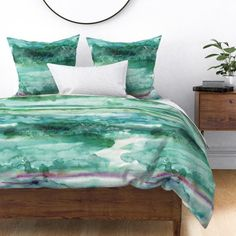 Ocean Watercolor Duvet Cover - Watercolour 26 by heytangerine - Sea Greens Brushstrokes Cotton Sateen Duvet Cover Bedding by Spoonflower King Duvet, Queen Duvet, Pillow Shams, Pillows, Cozy Bed, Bed Covers, Bedding Collections, Sheet Sets