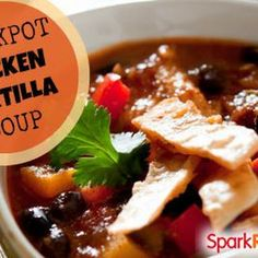 Crockpot Chicken Tortilla Soup--simply delicious...don't be shy...go ahead and add some taco seasoning and a jar of salsa as well!