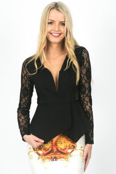 Black Jersey Lace Long Sleeve Peplum Top