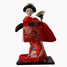 Japan Cloth Japanese Geisha Kimono furnishings Belle Kabuki Doll GIRL Beauty