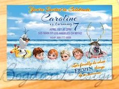 Your place to buy and sell all things handmade Frozen Birthday Invitations, Disney Frozen Birthday, Disney Invitations, Holiday Decor, Birthday Ideas, Cards, Handmade, Hand Made, Craft