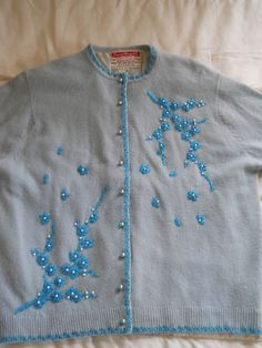 Vtg Jimmy Wong Blue Beaded Cardigan Sweater 50's Retro Glam 40 M Mad Men Angora | eBay