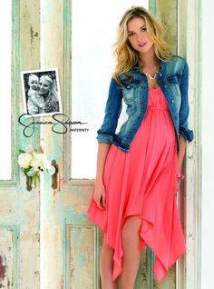 Jessica Simpson Maternity Clothes Spring 2013.  Maternity Dress with jean jacket