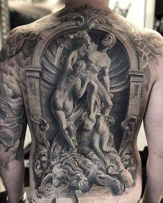 One of the most detailed bizarre art tattoos we have ever seen. Tattoo artist is Via tattooideas tattooist tattoos artshare spectacular surrealart surreal bizarre bizarreart Full Back Tattoos, Back Tattoos For Guys, 3d Tattoos For Men, Back Tattoo Men, Backpiece Tattoo, Chest Tattoo, Irezumi Tattoos, Body Art Tattoos, Sleeve Tattoos