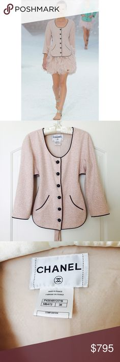 Chanel pink tweed blazer authentic recent! 38 4 S Very recent 2012 collection! This little tweed blazer from Chanel is just precious and so rare.   Gorgeous pink color fantasy tweed jacket.  It closes with 6 black CC buttons and it is lined in pink silk. There are 2 pockets and it ties in back. Iconic Chanel chain along hem.      The fabric is 55% cotton, 15% acrylic, 15% nylon 11% linen.   Authentic guaranteed. More Chanel in my items, check it out ;) Chanel Jackets & Coats Blazers
