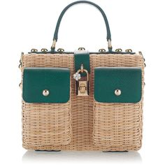 Dolce   Gabbana Embellished Leather-Trimmed Rattan Tote (299.170 RUB) ❤  liked on 6e048bfec4295