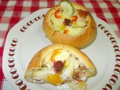 Rozi erdélyi,székely konyhája: Töltött zsemle Baked Potato, Pancakes, Muffin, Food And Drink, Eggs, Potatoes, Baking, Breakfast, Ethnic Recipes