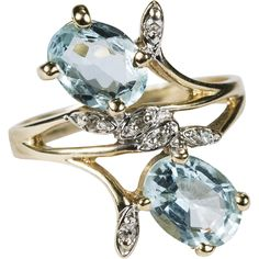 2.32ctw Natural Aquamarine Diamond Ring 14k Plumb Gold