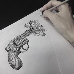 Desenho criado pela artista Taisa Santiago (taisatattoo) de Blumenau.    Em vez de tiro, flores. Nature Tattoos, Body Art Tattoos, Tattoo Drawings, Small Tattoos, Pumpkin Tattoo, Bullet Journal Art, Dream Tattoos, Pen Art, Tattoo Studio