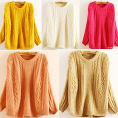 $16 Women Retro Bat Sleeve Loose Warm Scoop Neck Knit Pullover Jumper Sweater Coat Discover and share your fashion ideas on misspool.com
