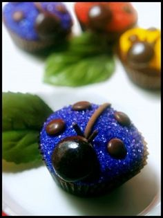 Colorful Ladybug Cupcakes. Me heck out my desserts, cupcakes, appetizer, and punch boards.  For everything you need for a great party.