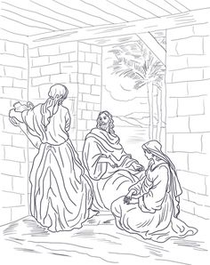 Jesus Visits Mary And Martha Coloring Page From Mission Period Category Select 21162