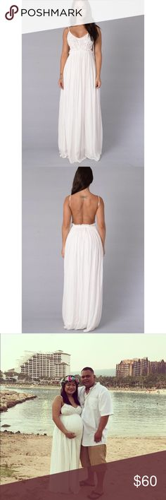 White Open Back Maxi *SELLING FOR A FRIEND WHO IS PICTURED ABOVE  Size Large  Stretchy around waist!! Able to fit Medium!!   Used only once for her Maternity Shoot.   Great condition!   PRICE IS FIRM Dresses Maxi