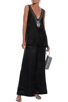 Camilla Silk-satin Jacquard Wide-leg Pants In Black Wide Leg Pants, Black Pants, Camilla Clothing, Silk Satin, World Of Fashion, Legs, Clothes, Shopping, Dresses
