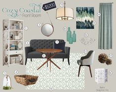 Teal and Lime: Coastal Living Room High/Low - High