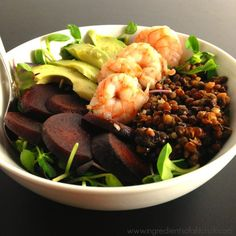 Ingredients 1 package SizzleFish Shrimp (4oz) 1 cup microgreens or lettuce of choice 1/2 cup sliced beets 1/2 cup lentils 1 tsp olive oil 2 tbs balsamic vinegar
