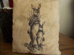 Primitive Vintage Bunny Graphic Pillow by MondaysChildPrims, $8.00