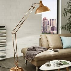 Save on Eglo Borgillio 1 Light Floor Lamp Copper at PAGAZZI! 15 Stores > In Stock > Official Eglo Stockists > Free delivery on orders over 50 ! Copper Floor Lamp, Industrial Floor Lamps, Modern Floor Lamps, Living Pequeños, Color Cobre, Adjustable Floor Lamp, Swing Arm Floor Lamp, Tall Lamps, Modern Lighting Design