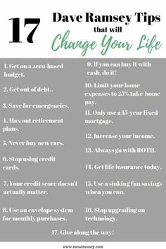 17 Dave Ramsey Tips that will Change Your Life - Finance tips, saving money, budgeting planner Budgeting Finances, Budgeting Tips, Money Tips, Money Saving Tips, Saving Ideas, Money Budget, Managing Money, Money Hacks, Groceries Budget