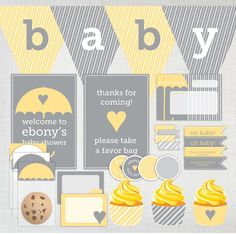 Printable DIY Baby Shower Party Decoration Pack in yellow and grey/gray by cartamodello