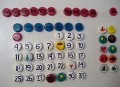 DIY magnetic bottle cap calendar... Now if only Chad would be okay putting magnets on the fridge Love it! Find magnets, glass tiles, adhesives here: www.eCrafty.com