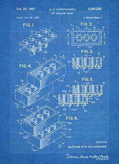 LEGO Construction Toy Blocks US Patent Art blueprint poster print