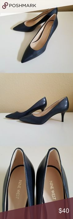 Nine West navy blue leather shoes size 9M Brand new shoes without box Nine West Shoes Heels