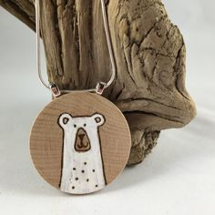 Polar Bear Necklace. White bear. Wood burning Necklace. Handpainted Pendant. Unique Casual Cool Jewelry.One of a kind Gift.Stocking Stuffer. by MalamiStudio on Etsy https://www.etsy.com/listing/248733434/polar-bear-necklace-white-bear-wood