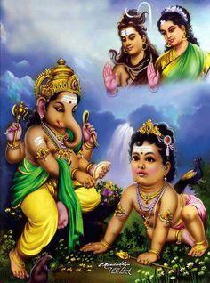 ganesha & skanda watched by shiva & parvati devi Shiva Parvati Images, Lakshmi Images, Shiva Shakti, Shri Ganesh, Lord Ganesha, Shiva Art, Hindu Art, Om Namah Shivaya, Lord Murugan Wallpapers