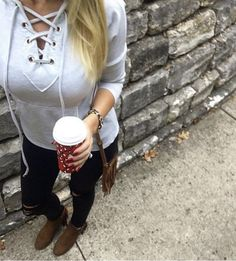 Lace up sweater, distressed denim, and fringe booties! Follow @alexandrachammer on Instagram for more fashion, beauty and lifestyle posts! ♥