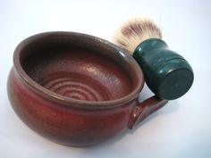 Shaving Mug Handmade Pottery Rustic Rust Red Comfort by pottersong
