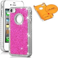 ULAK Glitter Bling Crystal Hard Case Cover for iPhone 4 4S 4G (Rose Pink)