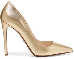 Prada - Metallic Textured-leather Pumps - Gold