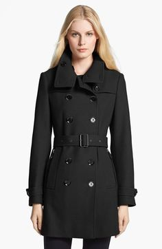 """Free shipping and returns on Burberry Brit 'Daylesmoore' Wool Blend Trench Coat at Nordstrom.com. <p><B STYLE=""""COLOR:#990000"""">Pre-order this style today! Add to Shopping Bag to view approximate ship date. You'll be charged only when your item ships.</b></p><br>A shorter version of the military trench is tailored from a fine wool blend detailed with button-down flaps and zippered side pockets."""