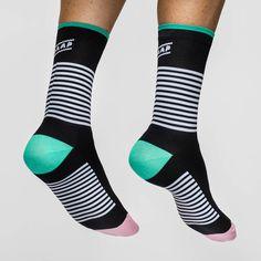 Block Stripe Sock Black/Aqua