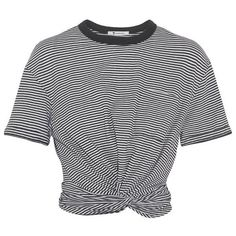 T By ALEXANDER WANG Cropped twist-front striped cotton-jersey T-shirt (115 CAD) ❤ liked on Polyvore featuring tops, crop tops, t-shirts, black white striped t shirt, crop tee, stripe t shirt, black and white crop top and cotton jersey
