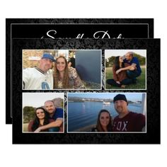 Save the Date Photo Card With Damask Flourish - formal speacial diy personalize style template