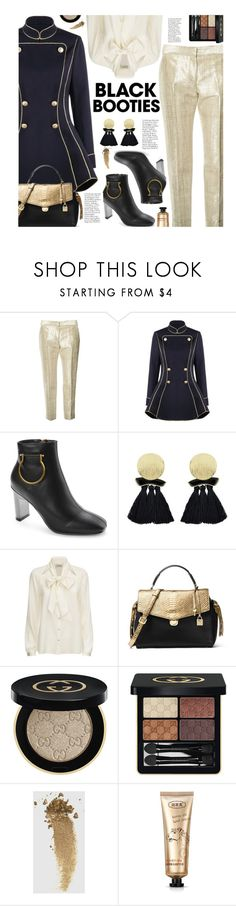 """""""Back to Basics: Black Booties"""" by beebeely-look ❤ liked on Polyvore featuring Alexander McQueen, Temperley London, MICHAEL Michael Kors, Gucci, StreetStyle, streetwear, blackbooties, GoldBeauty and gamiss"""