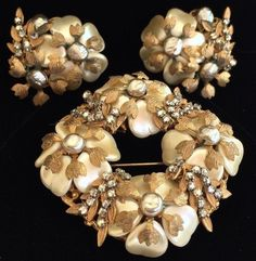 Exquisite Vintage Miriam Haskell Brooch(Rare Horseshoe mark)& Earring Set-Signed #MiriamHaskell