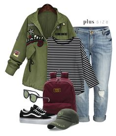 """""""Campus Chic: First Day of School (plus size)"""" by beebeely-look ❤ liked on Polyvore featuring KUT from the Kloth, Vans, BackToSchool, school, casualoutfit, sammydress and plussize"""