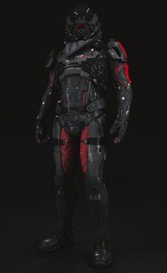 Pathfinder armor Mass Effect Andromeda, Anton Krasko N7 Armor, Combat Armor, Sci Fi Armor, Suit Of Armor, Body Armor, Alien Concept Art, Armor Concept, Star Citizen, Types Of Armor