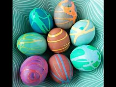 Swirly Rubber Cement Easter Eggs - Crafty Morning