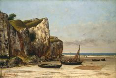 The Athenaeum - COURBET, Gustave French Realist (1819-1877)_Beach at Etretat, Normandy- circa 1872-1875