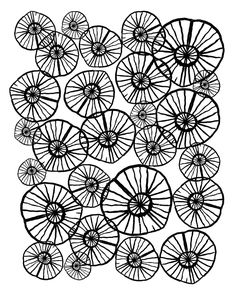 Lexi - squiggle modern black and white hand drawn pattern design pinwheels natural organic form abst Art Print