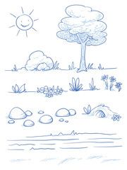 Vektor: Set of landscape and nature background parts: tree, bush, stones, hills, grass, leaves and flowers. Hand drawn vector illustration.