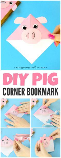 DIY Pig Corner Bookmarks Origami for Kids to Make